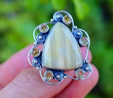 Amazing Botswana Agate & Citrine set in 925 Sterling Silver Ring size 6.5