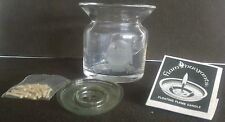 FlamBuoyants Floating Flame Candle Wicks,Signed Vase w/ Etched Owl & Mouse