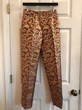 DOLCE & GABBANA Metallic Brocade Textured Trouser Bronze Size 4 ORIG $1000+