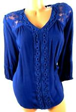 New directions curvy blue lace trim see through elbow sleeve gauze top 0X , XL