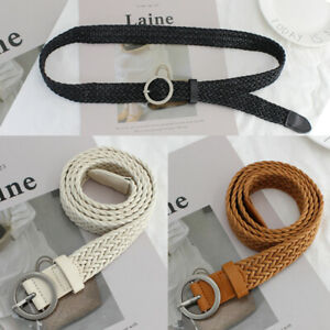 Woven Belt Metal Round buckle Cord Rope Wrap Braided Strap Women Jean Waist Band