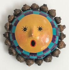 Signed Jean Haefele Mixed Media Brooch Pin Painted Yellow Sun Face Round 3D