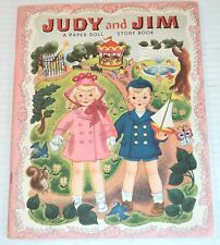 UNUSED 1948 JUDY AND JIM: A PAPER DOLL Story Book by HILDA MILOCHE & WILMA KANE