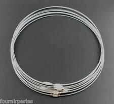 10 Collier rigide Rond Fil d'acier Fermoir à vis Bijoux Accessoire 45.72cm