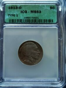 1913-D US Buffalo 5 Cents Coin Denver Mint (Type 1) ICG MS-63