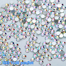 Flat Back Nail Art Rhinestones Glitter Diamond Gems 3D Tips DIY Decoration 1.4mm