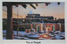 Jerry Georgeff - Taos at Twilight - Print of a Sotherwestern Puebelo at Twilight