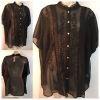 Evening Sheer Black Blouse Top Ladylike Gothic Governess Widow Shirt UK 24/26