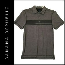 Banana Republic Mens Casual Formal Short Sleeve Polo Shirt Size Medium Gray