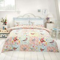 Duvet Cover Set - Single Cotton Bed Set Floral Birdie Reversible Bedding Set