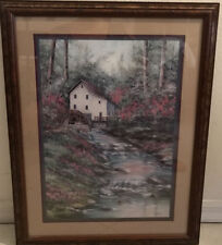 Home Interior Watermill Waterfall Creek Flowers Trees Matted Wood Framed Picture
