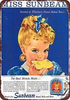 "1950's Miss Sunbeam Bread Vintage Rustic Retro Metal Sign 8"" x 12"""