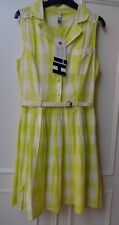 HENRY HOLLAND LIME AND WHITE CHECKS COTTON SUMMER DRESS SIZE 8 BNWT