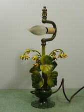 Vintage Italian Tole Flower Lilly of the Valley Yellow & Green  Metal Lamp