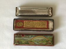 "Vintage ""Hohner Band� Harmonica With Original Case Pre Wwii Rare! Has 10 Holes"