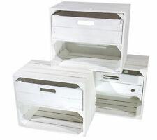 3x Moderne helle Holzkiste mit Schublade / weiß / 50x40x30cm