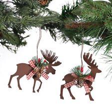 2 Fun MOOSE & REINDEER ORNAMENTS Rustic Die Cut Metal Christmas Tree Decor Gift
