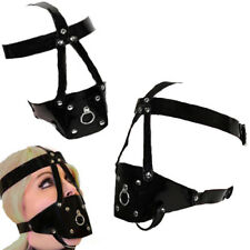 Faux Leather Head Harness Ball Gag Face Mask Muzzle Prisoner/Adult Costume USA