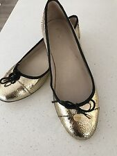 MIMCO WOMENS MAN MADE LEATHER FLATS GOLD BLACK SZ 40
