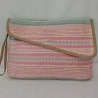 Vtg Woven Straw Clutch Bag Purse Handbag Pastel Large Pink Pacific Connections