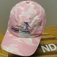 WESTERN TOWERS COMMUNICATION CELL TOWER HAT PINK/WHITE CAMO PATTERN ADJUSTABLE