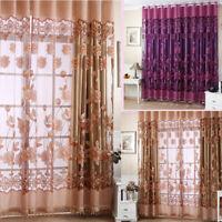 Floral Tulle Voile Window Door Curtain Drape Panel Sheer Scarf Valance Romantic