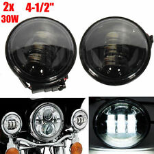 "4-1/2"" Black LED Auxiliary Spot Fog Passing Lights Lamps Pair Harley Motorcycle"