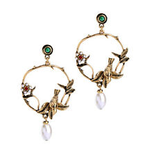 Women Elegant Fashion Earrings Ear Stud Crystal Big Round Gold Pearl Bird Flower
