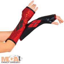 Harley Quinn Womens Fancy Dress Gloves Comic Book Day Superhero Costume New