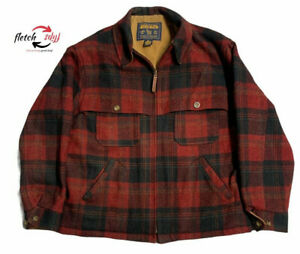 Vintage John Rich & Bros.Woolrich Wool Hunting Coat Red Plaid Field Coat Mens XL