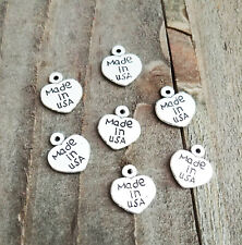 10 Made In USA Charms Antiqued Silver Heart Jewelry Tags Flag Charms 13mm