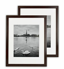 Set of 2 11x14 Expresso Photo Wood Frame with White Mat for 8x10 Picture