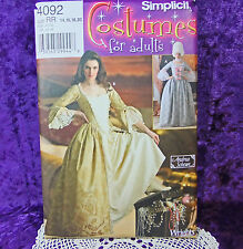 Simplicity 4092 Fantasy Pirates Carribean Heroine Gown Costume Pattern 14-20 New