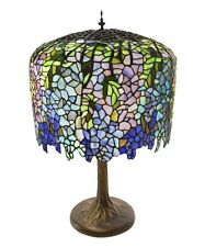 "30""Stained Glass Tiffany Inspired Grand Wisteria Table Lamp with Tree Trunk Base"