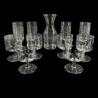 """11 Pc Set Vintage 1960's Glass Carafe & Glasses Monogram """"JSN"""" Barware Juice"""