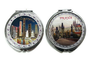 Set of 2 Pocket Cosmetic Makeup Mirrors Singapore And Praha Prague Souvenir Gift