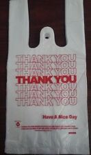 "Small T-Shirt Thank You Plastic Shopping Grocery Bags 5""x 3""x 10.5"" - 900/CASE"