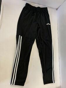 Adidas Boys Fleece Track Pants Black Stripes Bottom Half Medium M RN 88387 40312