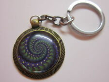 Fractal marbles keyring keychain  round glass dome cabochon gift bronze blue