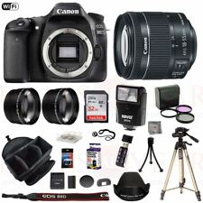 Canon EOS 80D Camera 18-55mm f/4.5-5.6 STM 3 Lens Flash Bag 32GB Tripod Kit