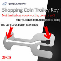 2 x Stainless Steel Retractable Shopping Coin Trolley Key ALDI WOOLWORTHS