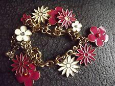 PRETTY Gold Chain, Enamelled Flower Charm Bracelet