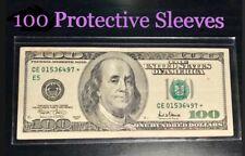 100 SEMI-RIGID Vinyl Money Protector Sleeves US Dollar Bill CURRENCY HOLDERS BCW