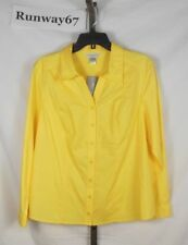 Yellow Tailored SHIRT BLOUSE top size L Large Christopher & Banks