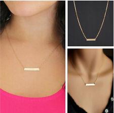 Gold OL Horizontal Stick Noble Simple Bar Bone Fashion Pendant Necklace L7S