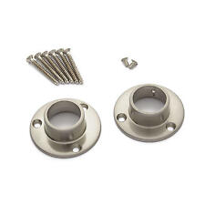 Straight Shower Curtain Rod Flanges Set of 2 in Brushed Nickel
