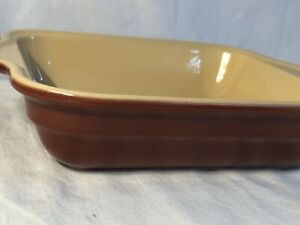 "Emile Henry France Brown Rectangular Baker Open Casserole Dish 8""x 7"