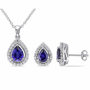 Sterling Silver Created Blue and White Sapphire Set of Earrings and Necklace
