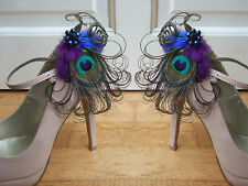 "Bridal Peacock Feathers Purple Royal Blue Shoe Clips / Bag Clips ""Allana"" (Pair)"