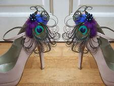"Bridal Peacock Feathers Purple Royal Blue Shoe Clips / Bag Clips ""Allana"" (Pair)"